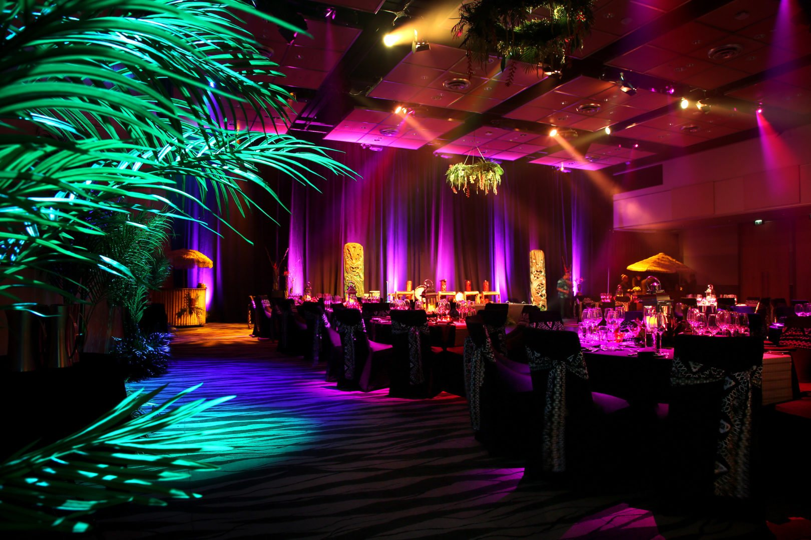 Ball room decorated in a Tahitian theme